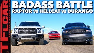 Almost Lost It! Raptor vs Durango SRT vs Hellcat Drag Race