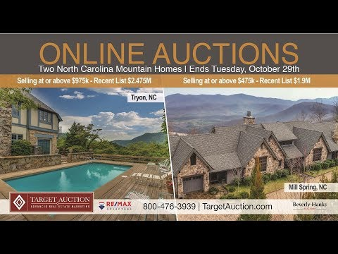 Two North Carolina Blue Ridge Mountain Homes selling at auction with low published reserves! Online bidding ends Tuesday, October 29th. Property Tours available beginning October 19th. Call for your appointment at 800-476-3939.