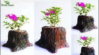 creative tree stump Cement Planter   Hand Made Tree Stump Flower Pot   DIY Planter//GREEN PLANTS