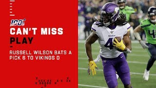 Russell Wilson Bats a Wacky Pick 6 to the Vikings D!