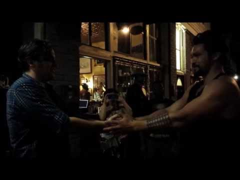 Jason Momoa (Khal Drogo) plays slaps with Radio Birds band manager Dustin