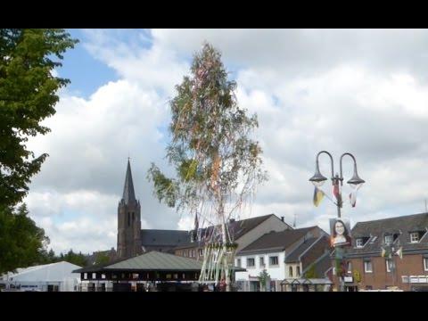 Der Maibaum wird auf dem Marktplatz in Stommeln aufgestellt.