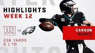 Carson Wentz Highlights vs. Giants