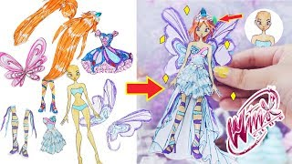 WINX CLUB | PAPER DOLL DRESSES GLITER PAINTING WITH BLOOM