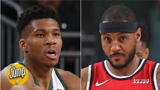 Was Carmelo Anthony right to say the Blazers defended Giannis Antetokounmpo well? | The Jump