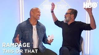 Dwayne Johnson & Jeffrey Dean Morgan: This Or That   Rampage (2018)   HBO