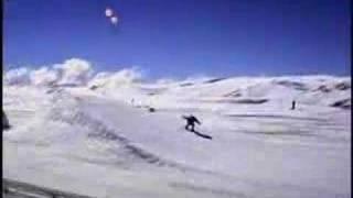 Lamborgini driving in the snow.