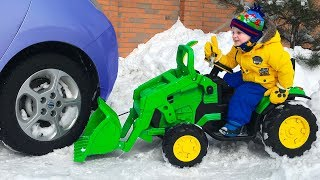 Funny Baby Car Stuck Paw Patrol Ride on Power Wheel Quad bike and Tractor - YouTube