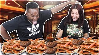 MUKBANG SEAFOOD BOIL 🔥SMACKING NOISES/MESSY EATING/8LBS KING CRABS   LOBSTER TAILS & STEAK FOOD!!!