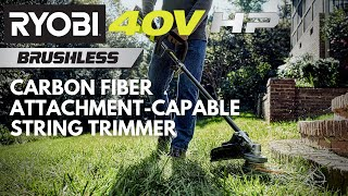 Video: 40V HP Brushless Carbon Fiber Attachment Capable String Trimmer with 4.0 Ah Battery & Charger