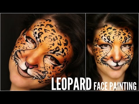 latest easy leopard makeup face painting tutorial with lion face paint step by step