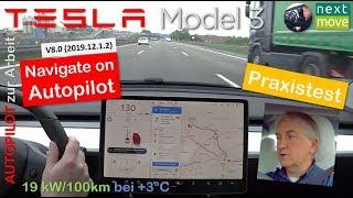 "Tesla Model 3 weiß: Fahrt zur Arbeit mit ""Nav. on Autopilot"" (v9.0  2019.12.1.2)   Praxistest"