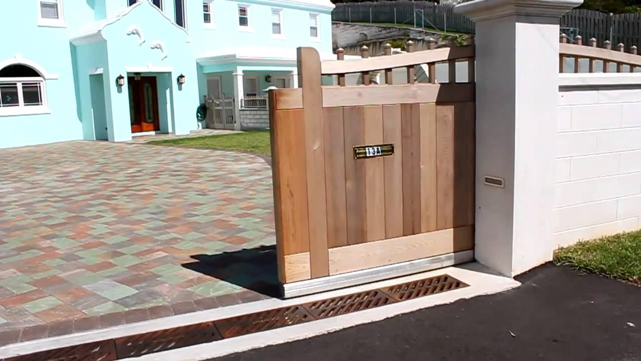 Wooden Sliding Gate Aluminum Track Youtube