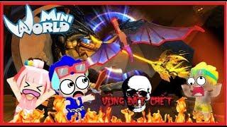 Mini World vùng đất chết: tập 14 Bộ 3 bá đạo đại chiến giết rồng trong mini world | Phong Cận Tv