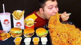 Wendy's & Noodles • MUKBANG