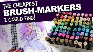 The CHEAPEST BRUSHMARKERS I could find! | MasterMarkers Review | DrawingWiffWaffles