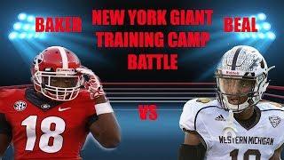NEW YORK GIANTS TRAINING CAMP BATTLES SAM BEAL VS DEANDRE BAKER!