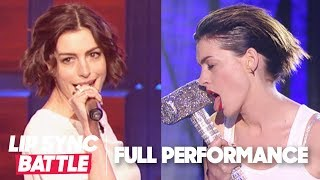 """Anne Hathaway Performs """"Love"""" & """"Wrecking Ball"""" 