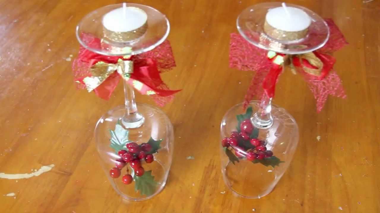 Centro de mesa con velas para cena de fin de a o youtube for Adornos navidenos con copas y velas