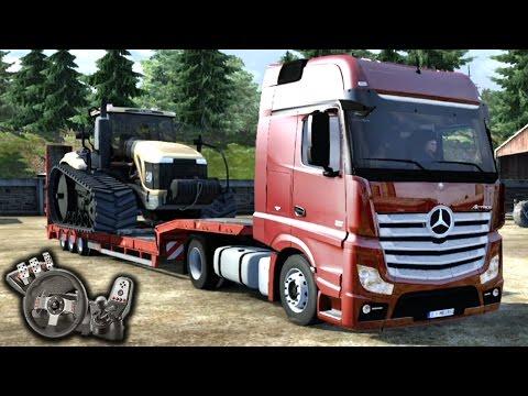 Euro Truck Simulator 2 - Mercedes Benz Actros - Puxando trator na Europa - Com Logitech G27 - RaaVaz