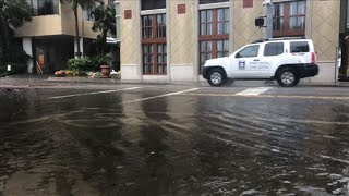 Strong winds and heavy rainfall pound Myrtle Beach