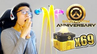 OPENING 69 ANNIVERSARY 2019 LOOT BOXES! ALL LEGENDARY SKINS UNLOCKED | Overwatch