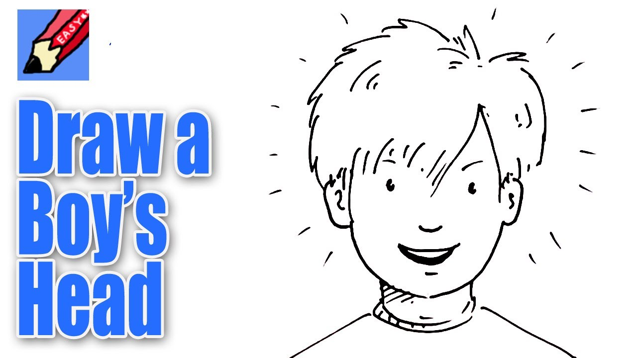 How to draw a boy's face from the front Real Easy - YouTube