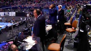 Multiple announcer calls of the Jalen Suggs buzzer beater