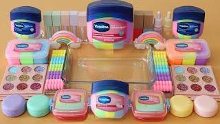 "Mixing""Pastel Vaseline"" Eyeshadow and Makeup,parts,glitter Into Slime!Satisfying Slime Video!★ASMR★"