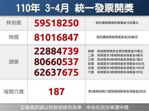 統一發票110年3-4月中獎號碼