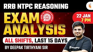 RRB NTPC Reasoning Exam Analysis   Last 15 Days Reasoning Questions Analysis by Deepak Tirthyani