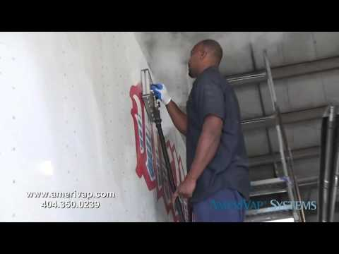 truck and car sticker removal with dry steam