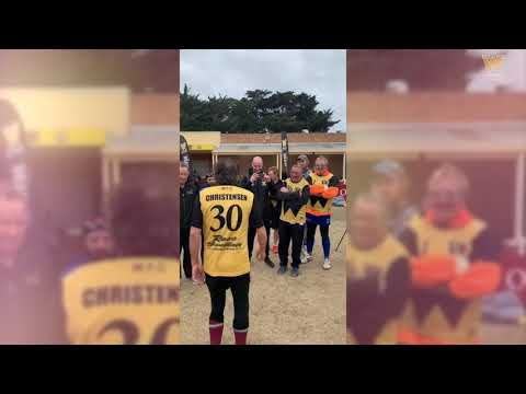 Choco gets a rousing welcome from Werribee's Reclink footy team
