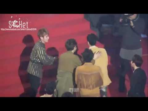 170222 Reaction của EXO khi Sehun lên nhận giải =))))