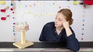 Eating cake off a conveyor belt