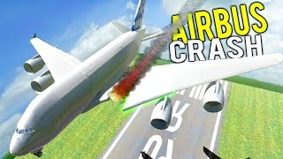 SUPER JUMBO JET WING RIPPED OFF WHILE FLYING! Airbus A380 Destruction - Disassembly 3D Gameplay