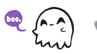 How to Draw a Cute Ghost - Halloween - Easy Pictures to Draw