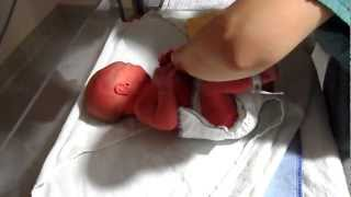 Baby boy's first bath at the hospital - SO CUTE