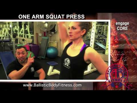 One Arm Squat Press for legs and shoulders - BBF 90 Day Fitness Challenge Instruction Video #37