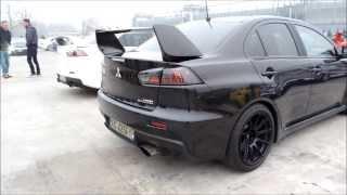2x Mitsubishi Lancer Evo X exhaust Revs Pops