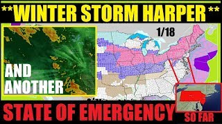 Winter Storm HARPER - STATE OF EMERGENCY Declared In New Jersey & Pennsylvania