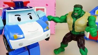 Hulk vs Robocar Poli car toys escape from the cage
