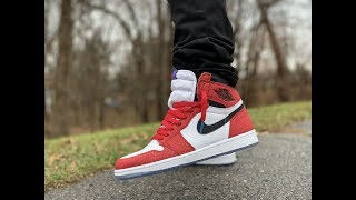 f24e6b13ec28 AIR JORDAN 1  quot SPIDER MAN quot ORIGIN STORY REVIEW  amp  ON FEET!