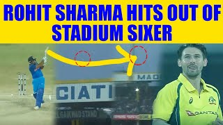 India vs Aus 3rd ODI: Rohit Sharma sends ball flying outsi..