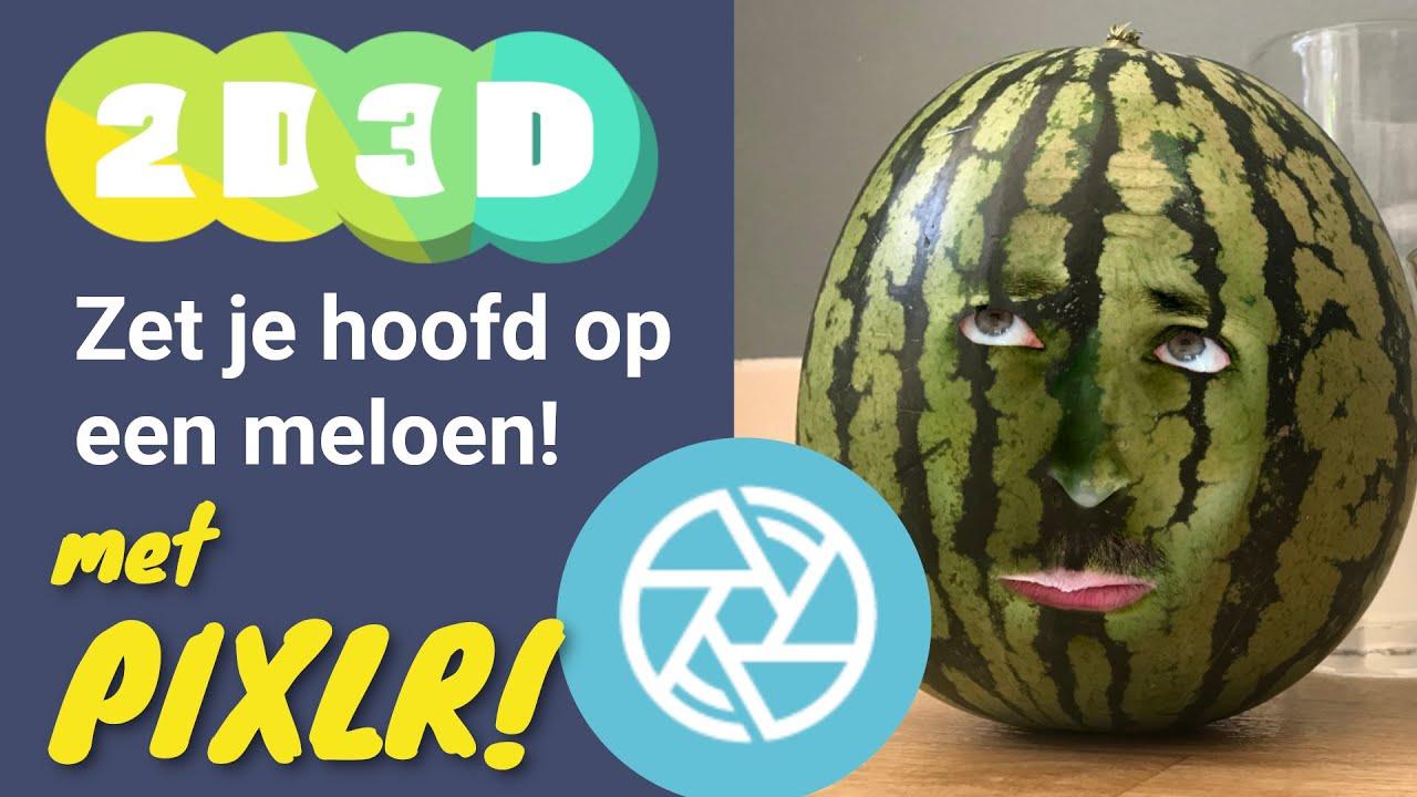Zet je hoofd op een meloen in Pixlr