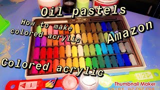 How to make colored acrylic/ With  chalk oil pastels diy 🙃💅