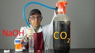Captura de  CO2 con Sosa Cáustica (NaOH). Experimento de Química.