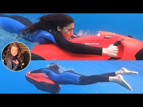 Pranitha Subhash seabob scooter diving underwater in Maldives