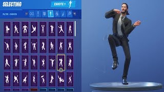 John Wick Dance Showcase With ALL Fortnite Season 9 NEW Emotes (LOL @ His Facial Expressions)