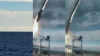 Falcon Heavy central core crashing into the ocean